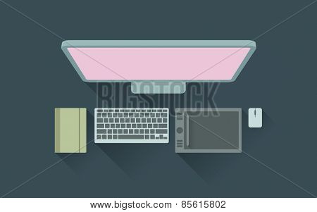 Vector illustration of designer working desk with digitizer and notepad