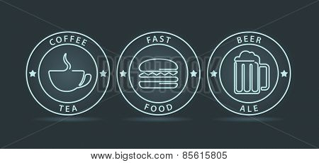 Vector set of neon outline style fast food icons