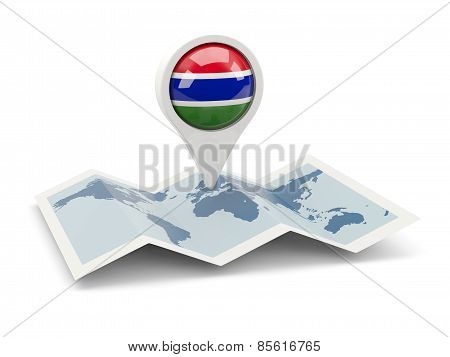 Round Pin With Flag Of Gambia