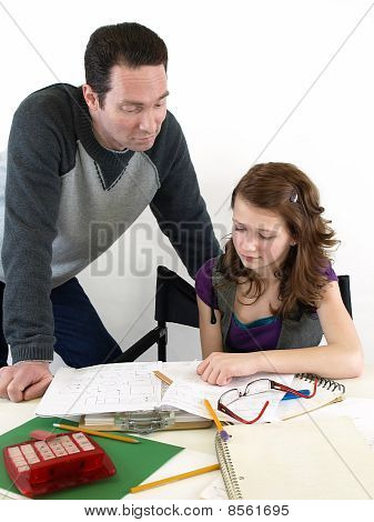 Dad Helps Daughter Study
