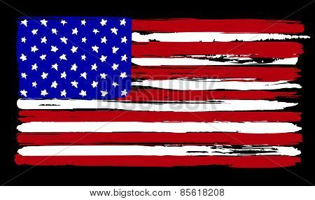 American Flag in painting brush style