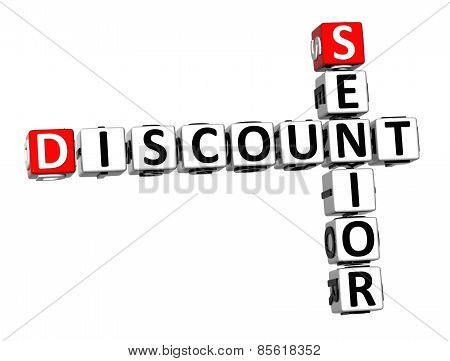 3D Crossword Senior Discount On White Background