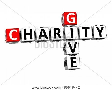 3D Crossword Give Charity On White Background