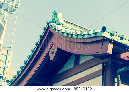 Roof Of Senjoji Famous Shinto Temple In Asakusa,japan