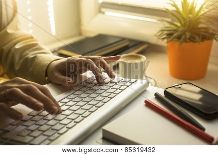 Female hands typing text on the keyboard.