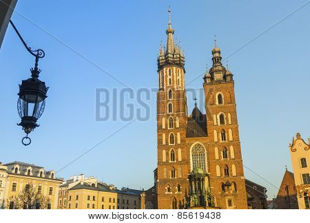 Mariacki church in Rynek Glowny - main square of Krakow, Poland.