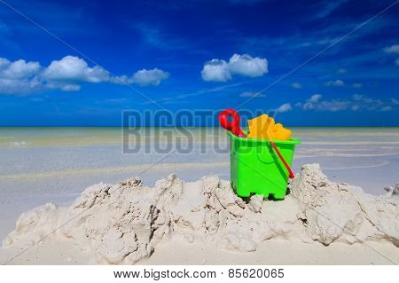 kids toys on summer sand beach