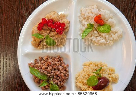 Cereals - buckwheat rice millet wheat groats