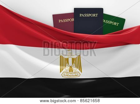 Travel and tourism in Egypt, with assorted passports