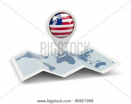 Round Pin With Flag Of Liberia