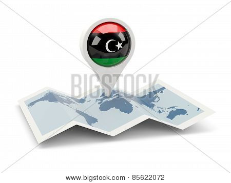 Round Pin With Flag Of Libya