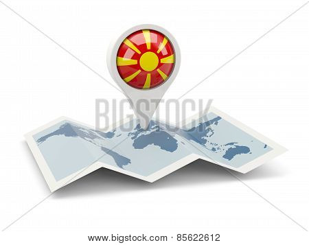 Round Pin With Flag Of Macedonia
