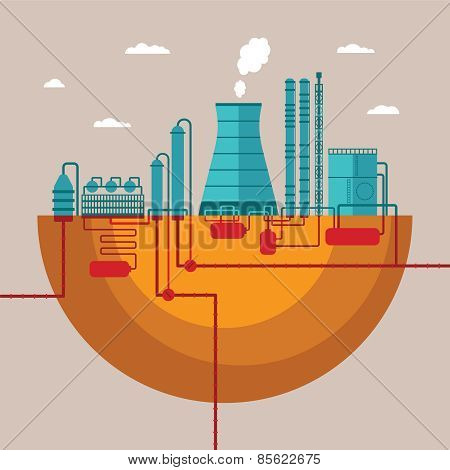 Vector Concept Of Refinery Plant For Processing Natural Resources