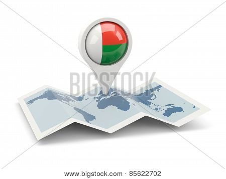 Round Pin With Flag Of Madagascar