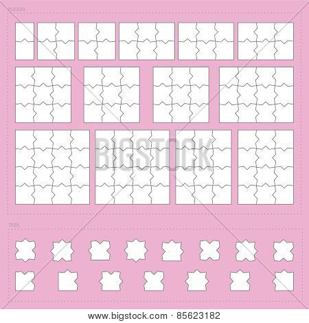 Vector Parts Of Paper Jigsaw Puzzle Set