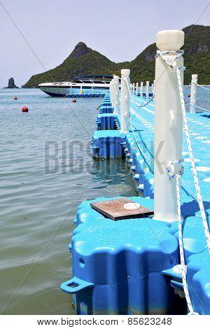 Plastic Pier  Coastline Of A  Green  China Sea Thailand Kho Phangan   Bay