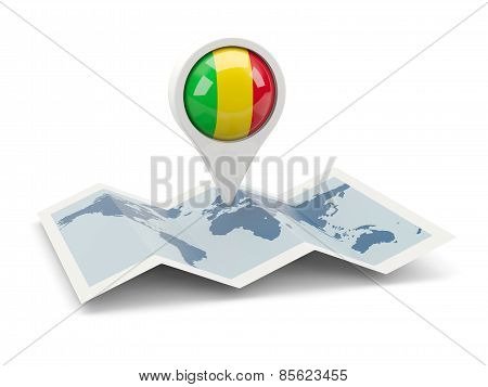Round Pin With Flag Of Mali