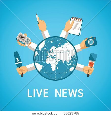 Live News Vector Concept In Modern Flat Style