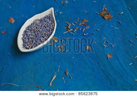 Lavender Seeds On A Plate.