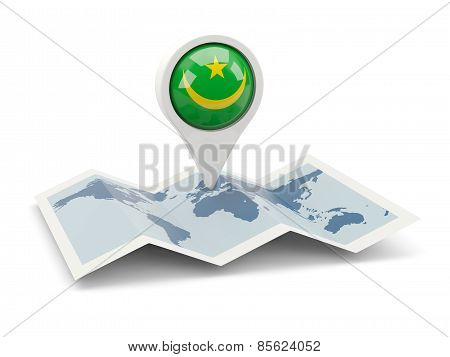 Round Pin With Flag Of Mauritania