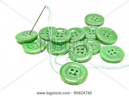 Green Thread And Buttons
