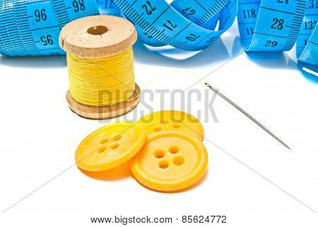 Blue Meter, Buttons And Spool Of Thread