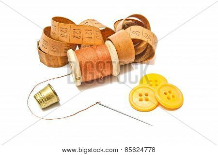 Spool Of Thread, Thimble And Buttons
