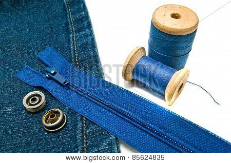Denim With Zipper And Metal Buttons