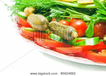 Different Vegetables On Glass Plate