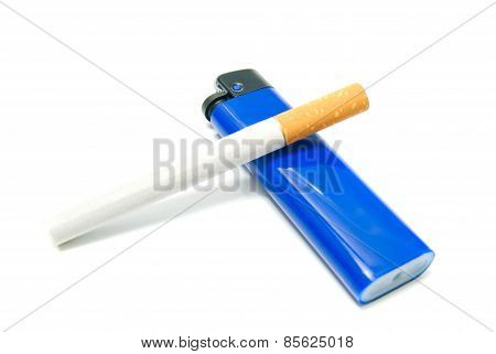 One Cigarette And Plastic Lighter