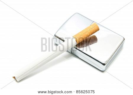 Silver Lighter And Cigarette