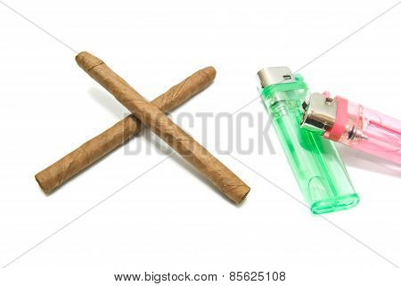 Two Cigars And Two Plastic Lighter