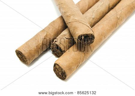 Cuban Cigars On White
