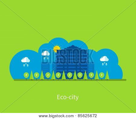 City landscape. Environmentally friendly house.