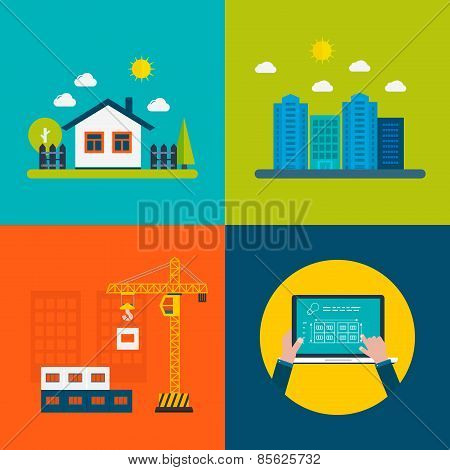 Flat design vector concept illustration with icons of building construction, urban landscape, farmho
