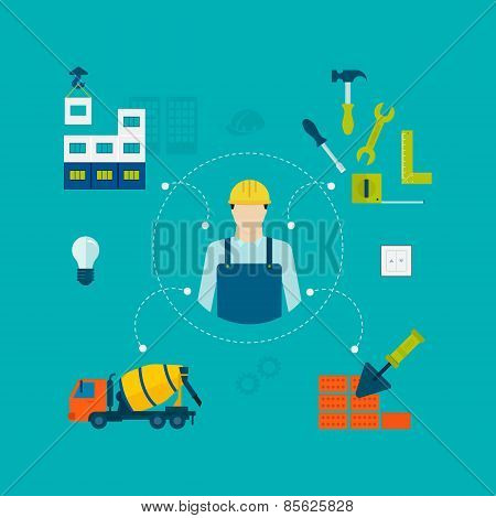 Construction of Building. Concept Vector Illustration in flat style design.