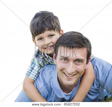 Father and Son Playing Piggyback Isolated on White.