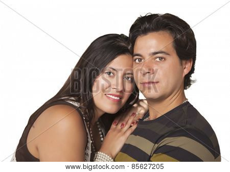 Attractive Hispanic Couple Portrait Isolated on White.