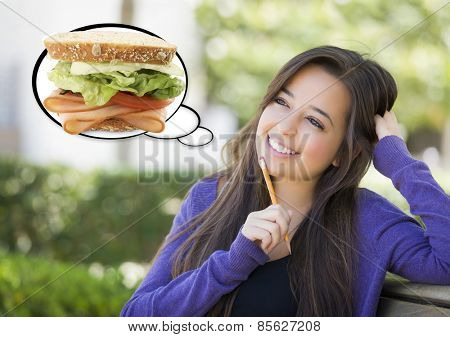 Pensive Woman with Big Delicious Sandwich Inside Thought Bubble.