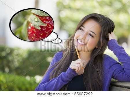 Pensive Woman with Nutritious Strawberry Inside Thought Bubble.