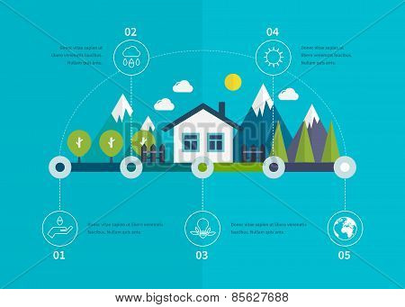 Ecology illustration infographic elements flat design. Eco life.