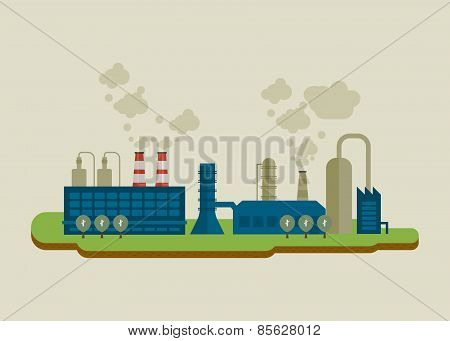 Flat design vector concept illustration infographic elements with icons of industrial factory buildi