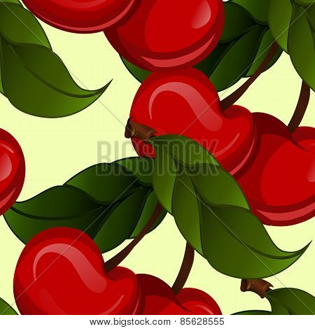 bright jucy fresh cherry fruit vector. Cherries fruit - seamles