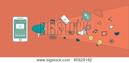 Set of flat design vector illustration concepts of mobile marketing and digital marketing.