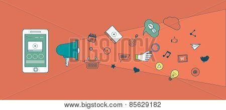 Set of flat design vector illustration concepts of mobile marketing and digital marketing.