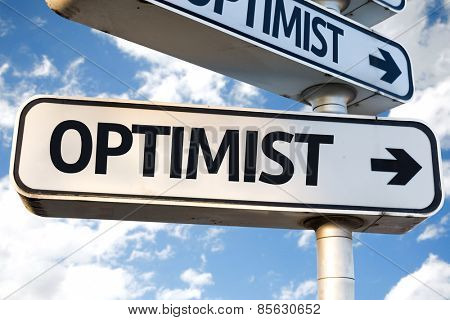 Optimist direction sign on sky background