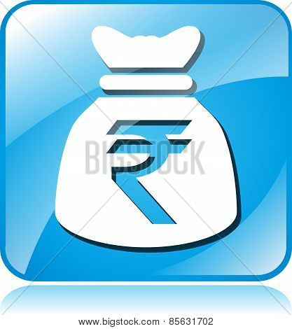 Rupee Blue Square Icon