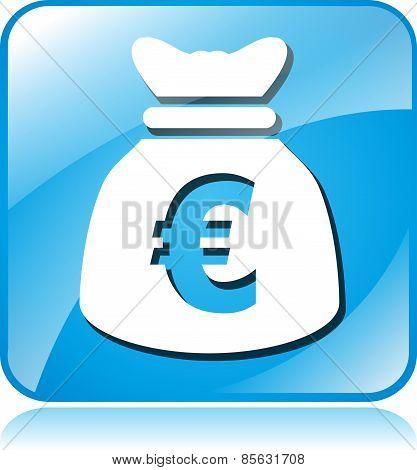 Euro Blue Square Icon