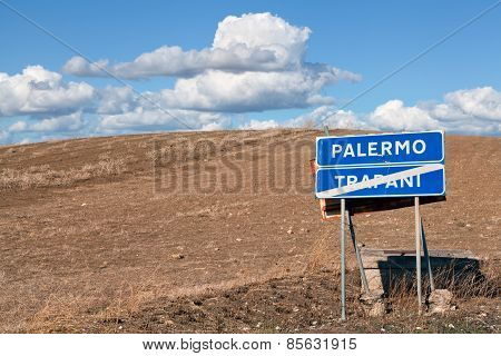 Road Sign Between Palermo And Trapani, Sicily