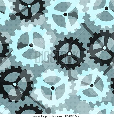 Blue Cogwheel Seamless Pattern
